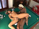 Interracial copulation on billiard table