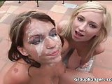 Two hot and sexy sluts getting covered in jizz