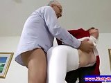 Teen amateur in tights getting slammed in her tight pussy
