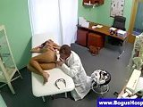 Dummy doctor seducing patient