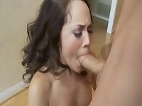 Kristina Rose gagging and eating cumshot