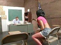 Schoolgirl buttfucked in class