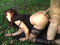 Mature whore nailed outdoor