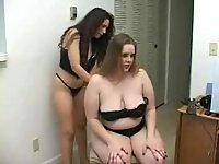 Horny lesbian action with bondage