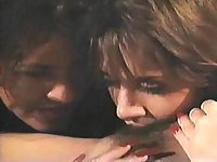 Three vintage brunette lesbos have fun