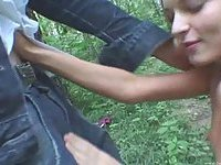 Amateur teen blowjob in a forest