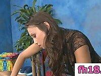 Lesbo massage in a salon