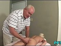 Slim and horny girl fucked by old man
