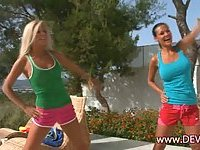 Excercising fun with busty babes