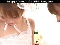 Cute Japanese lesbian girls have fun