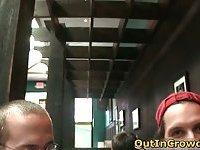 Horny gays handjob in restaurant