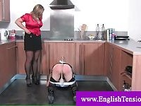 Sissy crossdresser spanked with a whip