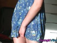 Slutty teen hottie Vika rubs wet clit upskirt
