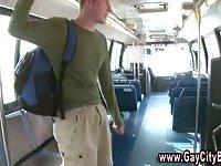 Horny public gay sex in a bus