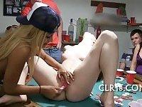 Sexy hottie licking her friend