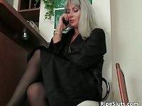 Blonde mom dressed in sexy lingerie is satisfied