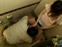 Spycam: Teen having Sex on Public Toilet