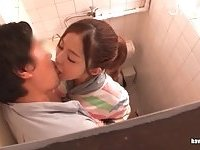 Japanese fingered & fucked in a toilet
