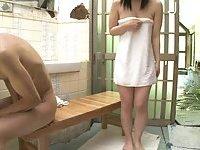 Japanese slut wanking guy cock 2