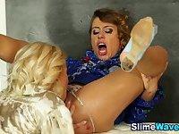 Glam bukkaked lesbo fists