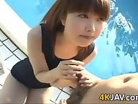 Japanese Teen Foreplay By The Pool