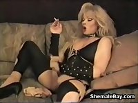 Smoking Blonde Shemale