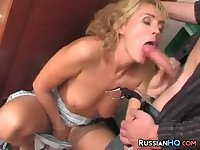 Mature Russian Drilled By A Teen Guy