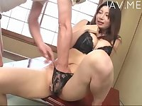 Asian in sexy black lingerie