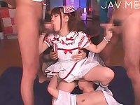 Yummy Jap doll gangbanged