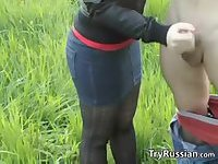 Russian Gives A Handjob Outdoors