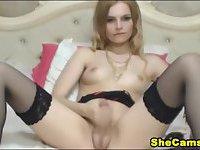 Cute Blonde Shemale Masturbating on Cam