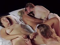 4 Females are bedroom erotic lesbians