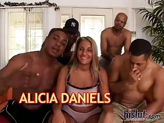 Alisha Daniels is a busty slut in gangbang