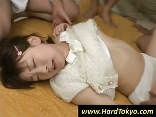 Japanese girl gets fucked by horny dudes