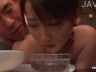 She eats while getting fucked